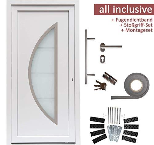 kuporta Kunststoff Haustür Ramos Türen 98 x 200 cm DIN links weiß mit Stoßgriff-Set Montageset Fugendichtband