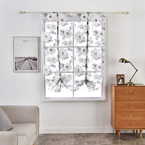 SIMPVALE Cortina Romana de Tul Translúcida Visillo Persianas con Diseño de Flores para Cocina Balcón Sala, Gris, 140x140cm
