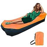 Sofa Hinchable, impermeable sofá de aire tumbona portátil de aire, sofá de aire con bolsa de transporte Portátil Impermeable Ligero cama camping para Viajes, Piscina, Camping, Parque, Playa(naranja)