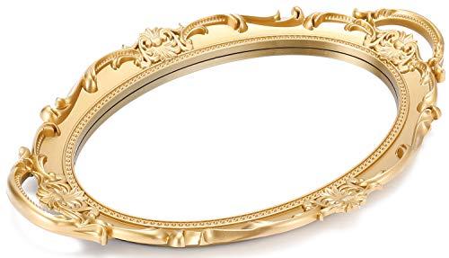 Sooyee - Bandeja decorativa con espejo de color dorado, organizador y expositor de perfumes, bandeja de maquillaje para tocador, baño,...