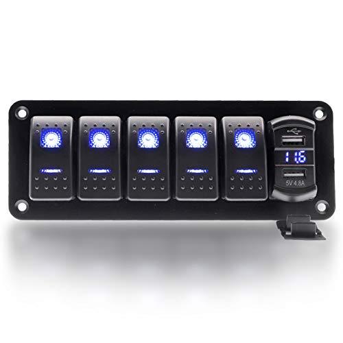 KAOLALI Panel de Interruptor Basculante de 5 Entradas con Cargador USB Súper Rápido 4.8A, Interruptor de Palanca para Barco, Camión, Caravana, Coche
