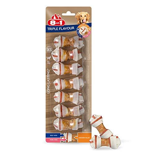 8in1 Triple Flavour, Os à mâcher 7 morceaux enveloppés de filet de poulet, XS