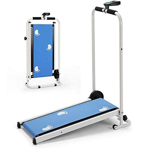 Mini Mechanical Folding Treadmill, Manual Running and Walking Machine for Home Exercise Fitness
