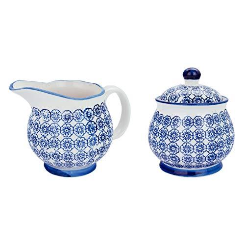 Nicola Spring Gemustertes Milchkanne 300 ml & Zuckerdose/Schüssel Set - Blaues Blumen-Aufdruck