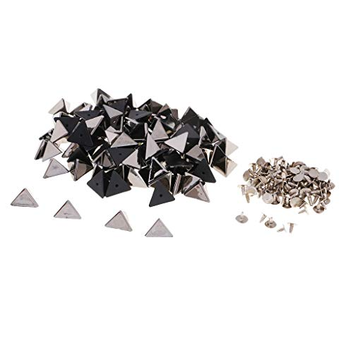 100 Stück Nieten Ziernieten Schmucknieten Spikes Pyramiden-Nieten Kegelnieten für Leathercraft - Schwarz