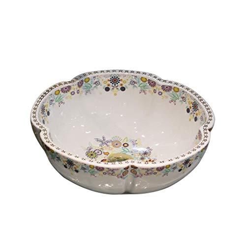 Tocador de lavabo de baño Cuarto de baño del fregadero del recipiente encima de Contador encimera de porcelana Tazón de cerámica fregadero de la vanidad Europea pétalo de cerámica en forma de contrarr