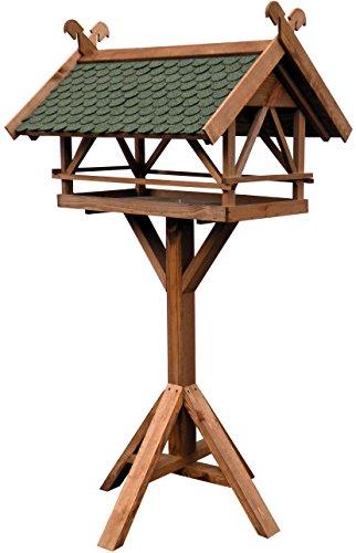 Luxus-Vogelhaus 49005e mit Ständer aus Holz, Pferdeköpfen, Zierleisten und Dachschindeln, Großes XXL, 78 x 62 x 148 cm, grün