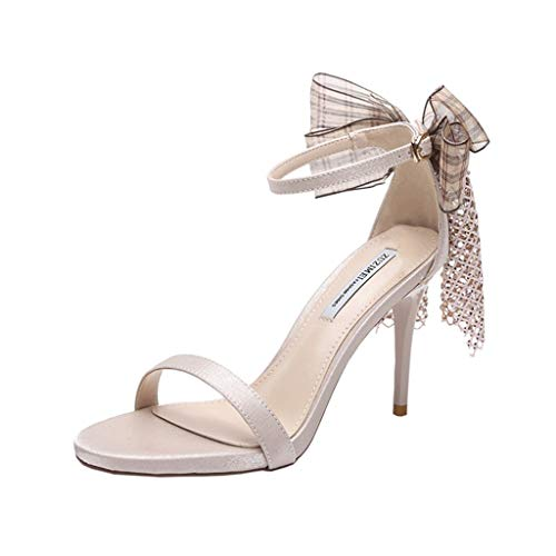 The New Stiletto Heel Women's Sexy Comfort Sandal Fairy Style Bow Tie Open Toe High Heels 10cm Black Mid Heel Sandals (Color : Off-White, Size : 35)