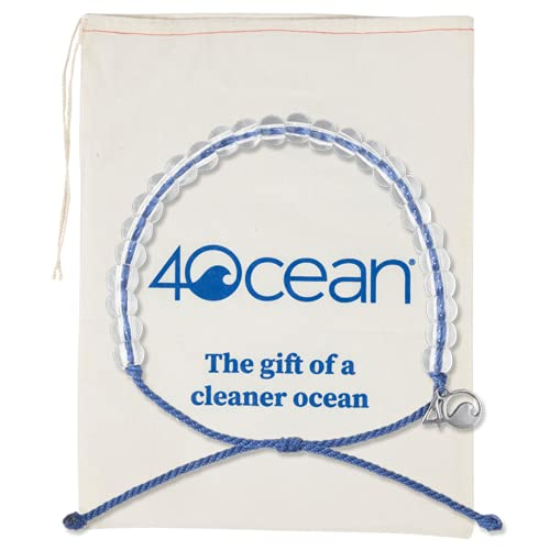 4ocean Beaded Bracelet With Reusable Cotton Gift Bag and Stickers (Signature Blue)