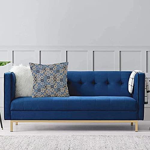 Set de 1 x Funda de Almohada 45x45 cm,Marroquí, Gran colección de Motivos Tradicionales portugueses de Azulejos rizos orientales, Azul Fundas de Cojines de Calidad con una Suavidad Incomparable