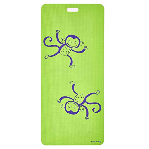 MERRITHEW Kids Yoga And Exercise Mat, Funky Monkey (Green) 0.15 inch / 4 mm