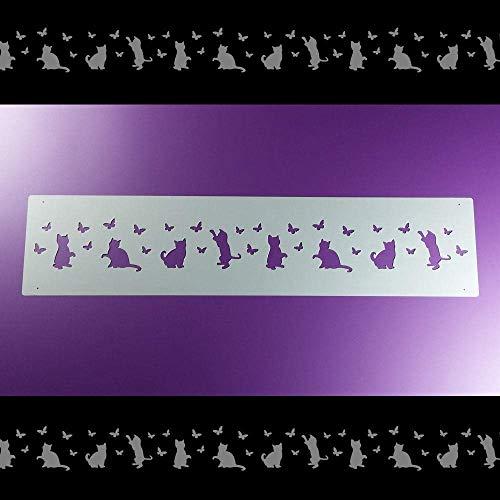 Schablone Bordüre Katze Schmetterlinge Kätzchen B1B33