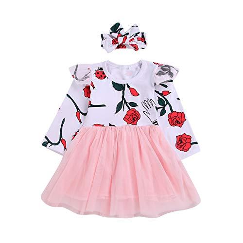 Puseky Ensemble bébé Fille Filles Rose imprimé Mousseline Robe et Bandeau Bowknot Tenues (Color : White+Pink, Size : 4Y-5Y)