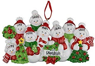 Snowman Family of 8 Personalized Ornament - (Unique Christmas Tree Ornament - Classic Decor for A Holiday Party - Custom Decorations for Family Kids Baby Military Sports Or Pets)