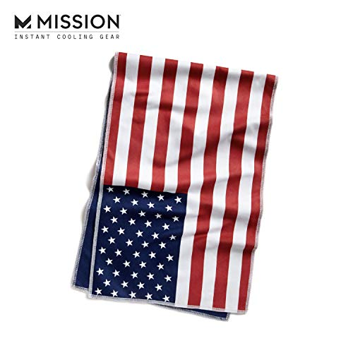 "Mission Original Cooling Towel- Evaporative Cool Technology, Cools Instantly when Wet, UPF 50 Sun Protection, For Sports, Yoga, Golf, Gym, Neck, Workout, 10"" x 33""- USA Flag"