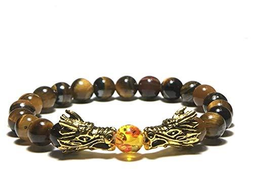 Pulsera de piedra Pulsera de piedra Mujer, 7 chakra perlas de ámbar natural tigre piedras de ojo de ojo Brazalete elástico Dragón de oro Joyería Brazaletes Brown Pulseras de yoga Reza Difusor Difusor