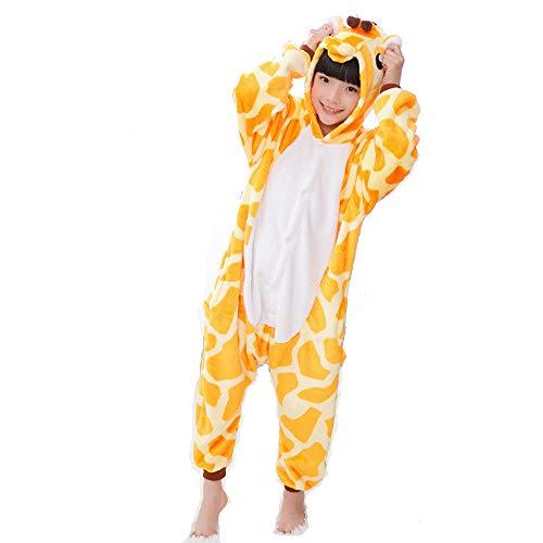 Kinder Tier Stil Pyjama Schlafanzug, Fasching Cosplay Kostüm Overall Giraffe, Party Jumpsuit Halloween Karneval (Tag Größe 120)