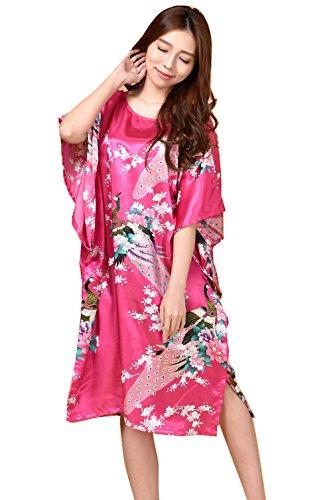Mujer Pijama Kimono Satén Seda de Estilo de Encaje Ropa De Dormir Camisón,Kimono japonés Mujer Negro y Rojo Bata Mujer Pijama Lencería Kimono Corto Satén Estampado Floral Encaje Gown