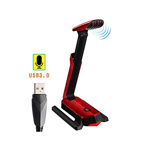 Beexcellent Desktop USB Computer Microphone Flexible for PC, Laptop, PS4, Gaming, Chatting, Meeting, Podcast, Recording (Red)