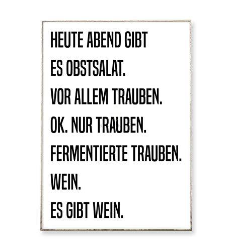 DIN A4 Kunstdruck Poster OBSTSALAT -ungerahmt- Typografie, Spruch, Küche, Schrift, Wein, witzig