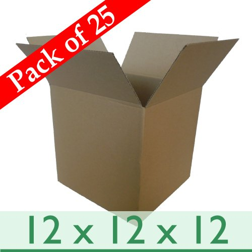 25 x Strong Parcel Mailing Packing Cardboard Boxes - Single Wall - 12 x 12 x 12 / 305mm x 305mm x 305mm by W E Roberts (Corrugated) Ltd