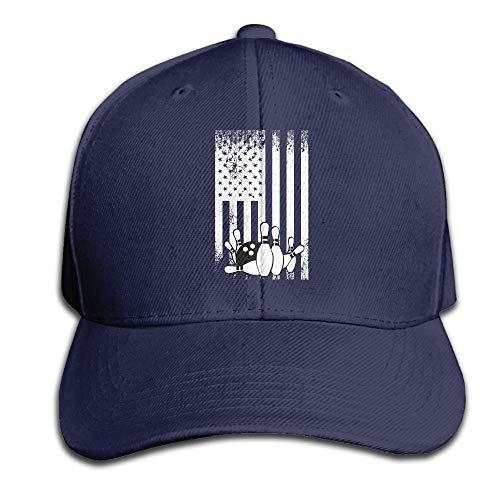 WefyL Retro Bowling Flag Snapback Sandwich Cap Black Baseball Cap Hats Adjustable Peaked Trucker Cap