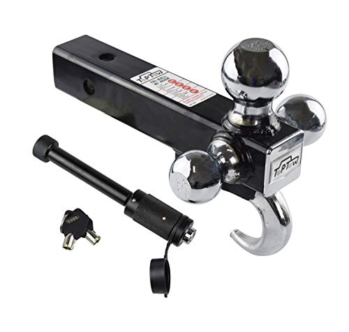 TOPTOW 64180HL Trailer Receiver Hitch Triple Ball Mount with Hook, Fits for 2 inch Receiver, Chrome Balls, 2 inch Shank, with 5/8 inch Black Dogbone Lock