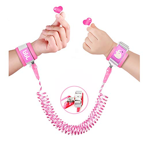 Toddler Harness Walking Leash- Child Anti Lost Wrist Link - Child Safety Harness - Upgrade with Reflective(6.5ft) - for Boys and Girls to Disneyland, Zoo or Mall.(Pink)