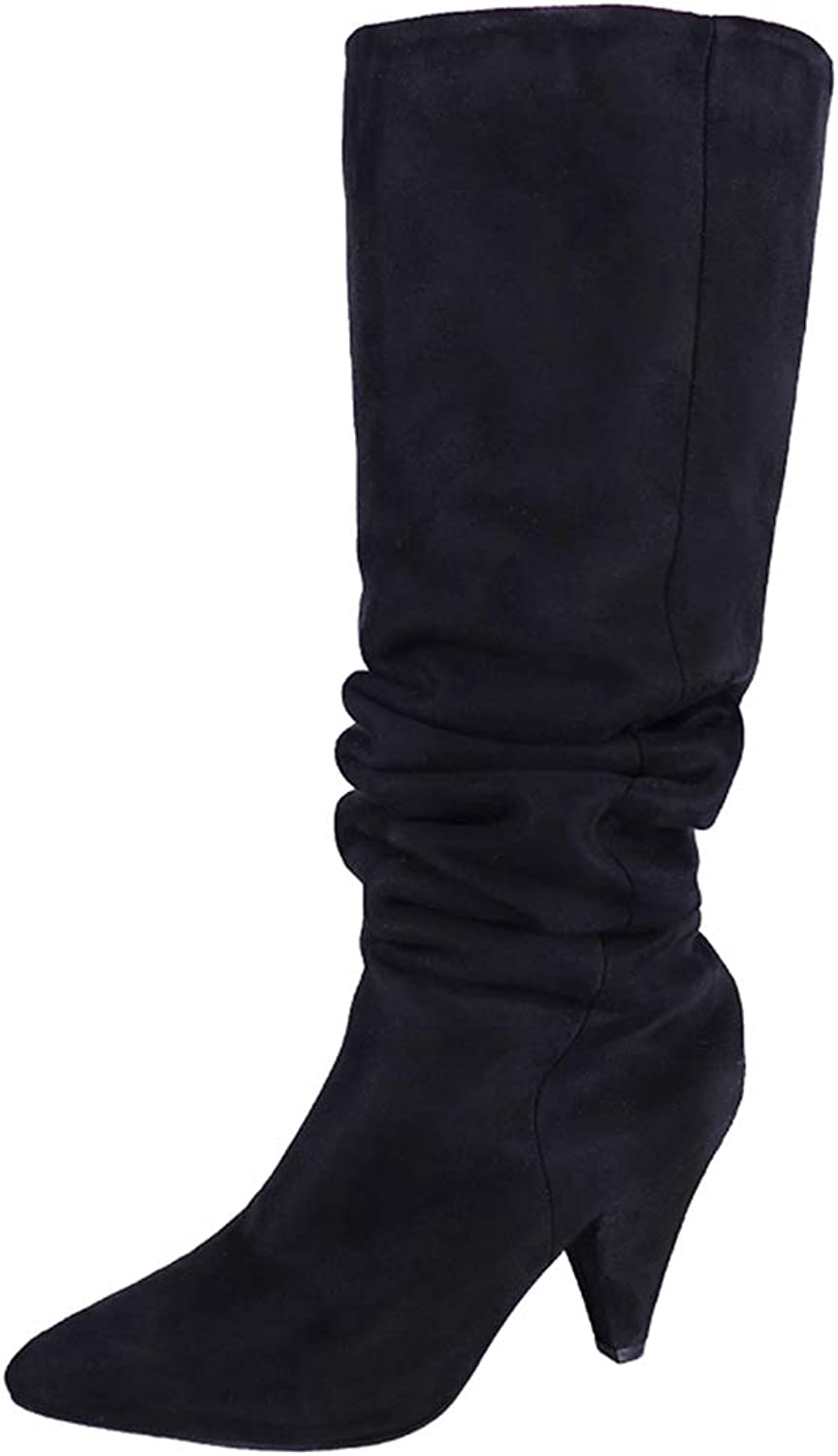 T-JULY Woman Chunky High Heels shoes Women Pumps Winter Knee-High Boots Gladiator Ladies Femme Girls