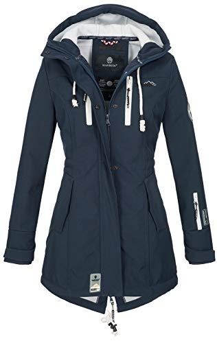 Marikoo Damen Winter Jacke Winterjacke Mantel Outdoor wasserabweisend Softshell B614 [B614-Zimt-Navy-Gr.L]