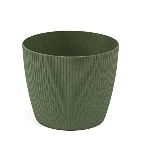 Lamela Eco Blumentopf Kräuterpflanze Blumentopf - Magnolienpullover - Fensterbankhalter Balkon Garten Container Eimer - Heimdeko 40% Holz, 60% Abfall aus Recycling, waldgrün, Ø 140 mm