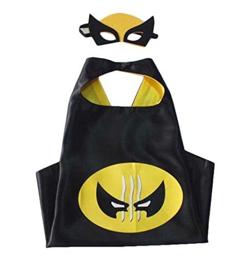 Kiddo Cura costumi di supereroi, maschere, mantelli, raso (Ragazzi) (Wolverine)