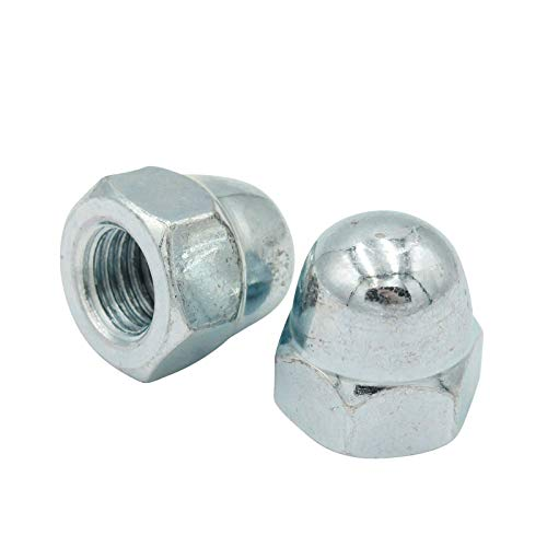D2D | VPE: 50 Stück - Sechskant Hutmuttern - Größe: M5 - DIN 1587 - hohe Form - galvanisch verzinkt Güteklasse 6 - Ziermuttern