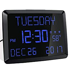ROCAM Day Clock, 11.5 Extra Large Display LED Digital Desk & Wall Calendar Alarm Day Clock with Date and Time, Battery Backup & 3 Alarms - Perfect for Elderly, Impaired Vision, Seniors, Dementia