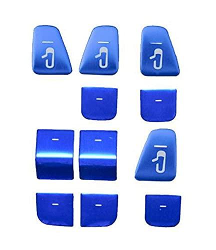 Zhong Ying 11ピースABS.青い赤い銀の窓の上昇スイッチのボタンパネルのパネルのカバーはテスラモデル3モデルY 2021車の内装の装飾 (Color Name : 11 Pcs Blue)