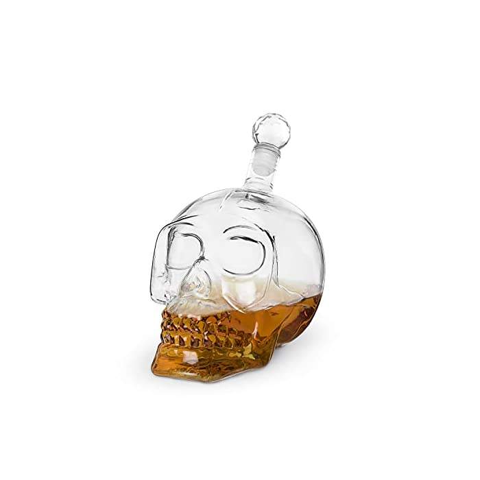 Foster Rye Skull Liquor Decanter Clear Glass Skull Shaped Whiskey Decanter With Stopper 25 Ounce Capacity Set Of 1