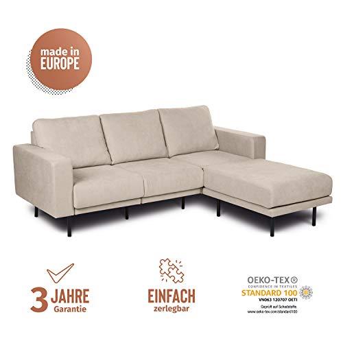 KAUTSCH Mette Dreisitzer Sofa für Wohnzimmer zerlegbar - Couch 3-sitzer - Polstersofa - B 208 cm - Longchair rechts, créme-beige - mit Metallfüße