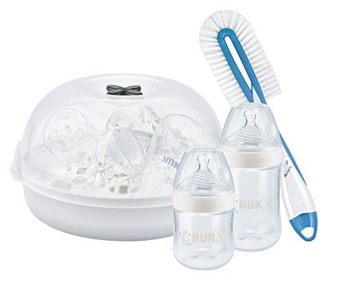 NUK Kleines Neugeborenen Starter Set mit Nature Sense Babyflaschen (x2) + Dampfsterilisator + Flaschenbürste mit Saugerbürste