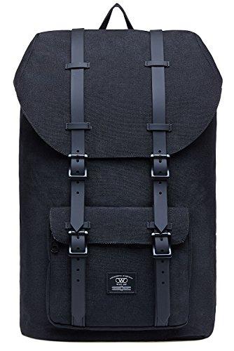 KAUKKO Rucksack Damen Herren für 15 Zoll Laptop für Schule, Arbeit oder Reise, 21.57 Liters, 27 * 17 * 47 cm (Schwarz JNL-D2-03)
