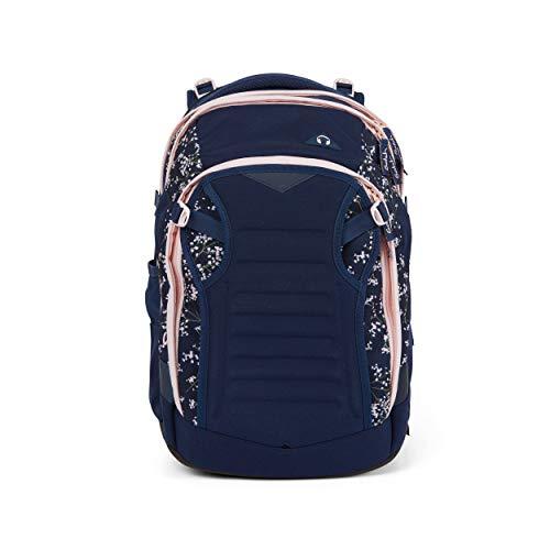 Satch match Schulrucksack - ergonomisch, erweiterbar auf 35 Liter, extra Fronttasche - Bloomy Breeze - Dunkelblau