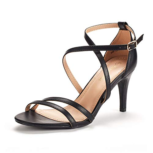 DREAM PAIRS Women's Gigi Black Pu Fashion Stilettos Open Toe Pump Heeled Sandals Size 7 B(M) US
