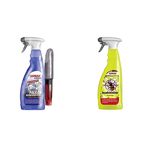 SONAX Xtreme Felgenreiniger Plus säurefrei (750ml) Felgenbürste & InsektenStar (750 ml) entfernt schnell und schonend selbst hartnäckige und angetrocknete Insektenverschmutzungen