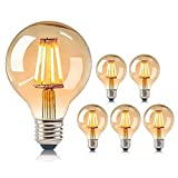 Bombilla Edison E27, 6 unidades, bombilla globo LED, vintage, regulable, 40 W, cristal ámbar, ideal para nostalgia y decoración retro [Clase energética A+]