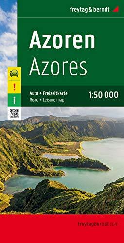 Azores, mapa de carreteras. Escala 1:50.000. Freytag & Berndt.: Achtung! Besondere Ausflugsziele. Ortsregister mit Postleitzahlen. GPS: AK 9304 (Auto karte)