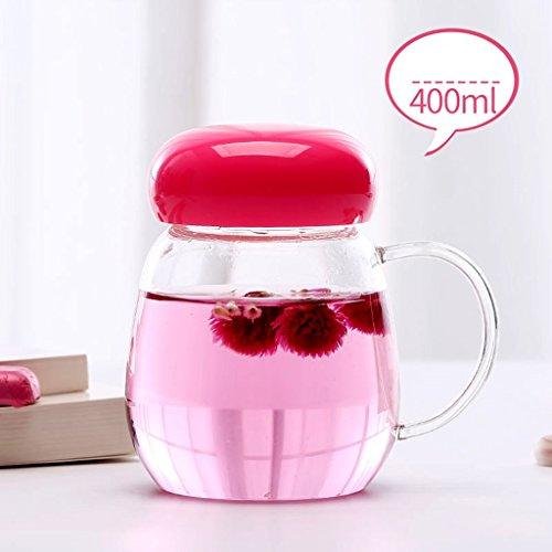 Coupe tasse en verre tasse à café tasse tasse de petit déjeuner tasse de lait thermos mignon thé parfumé lait café bureau protection de l'environnement café étudiants (Color : Red, Size : 400ml)