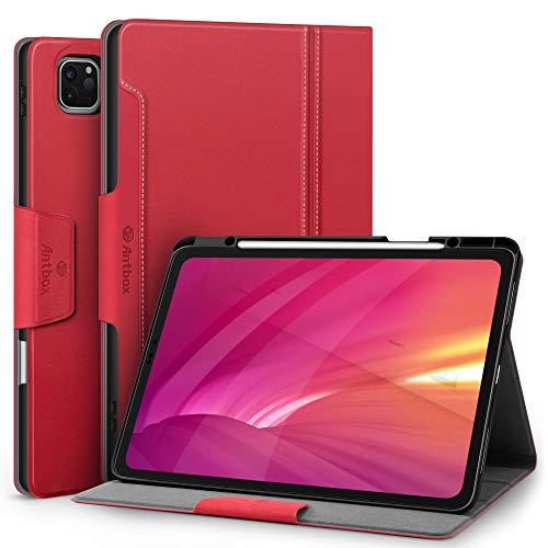 Antbox Hülle für iPad Pro 12.9 2020 (4.Generation) / 2018 (3. Generation) mit Stifthalter Apple Pencil Halter Auto Schlaf/Wach Funktion PU Ledertasche Schutzhülle (Rot)