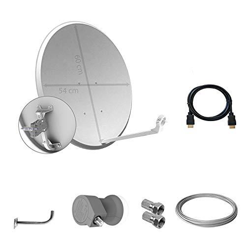 Tecatel - Kit parabólica 60 cm, soporte, LNB Universal, cable y 2 conectores F, Blanco