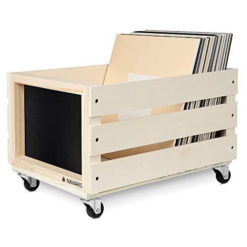 Navaris Caja para discos de vinilo - Mueble de madera con ruedas porta vinilos - Estilo vintage con pizarra para anotar - Soporte de almacenaje
