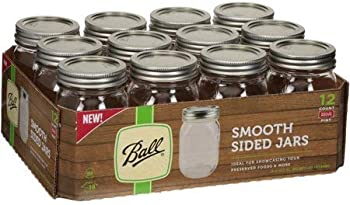 12-Pack Ball Pint Sized Smooth Sided Regular Mouth Glass Canning Jars