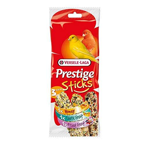 Prestige Sticks bâtons gourmets pour canaris – Multipack 3 pièces : 1 Miel, 1 Fruits Exotique, 1 Fruits des Bois.
